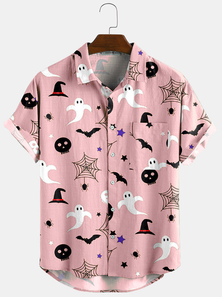 Banggood Design 3 Color Halloween Cartoon Print Turn Down Collar Short Shirts