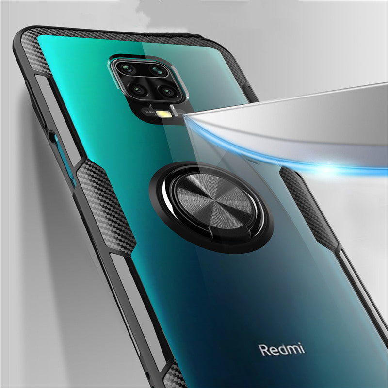 Bakeey for Xiaomi Redmi Note 9S / Redmi Note 9 Pro / Redmi Note 9 Pro Max Case Carbon Fiber Pattern 360° Rotation Adjustable Magnetic Ring Holder Shockproof Transparent Protective Case