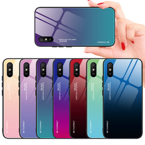 Bakeey for Xiaomi Redmi 9A Case Gradient Color Tempered Glass Shockproof Scratch Resistant Protective Case