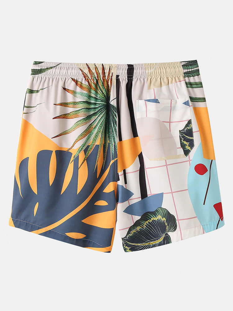 Banggood Designed Mens Casual Plants Leave Print Tropical Drawstring Shorts