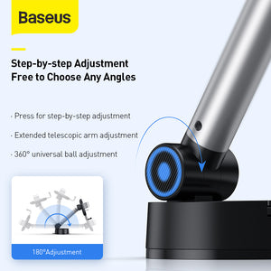 Baseus Universal 360 Degree Rotating Gravity Linkage Auto Lock with Telescopic Arm Car Dashboard Windshield Suction Cup Mount Holder for 4.7-6.5 inch Phone for iphone Smartphone Xiaomi Redmi 9A Poco F2 Pro