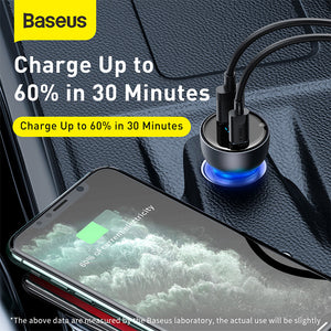 Baseus Digital Display 65W Dual QC+PPS 2-Port Fast Charge USB Car Charger With USB Port + USB Type-C PD Port For Smart Phones Tablets Laptops For iPhone 11 Pro Max SE 2020 For iPad Pro 2020 MacBook Xiaomi