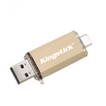 Load image into Gallery viewer, Kingstick 4GB 8GB 32GB 64GB 128GB OTG Type-C USB 2.0 High Speed Flash Memory Stick Pendrive U Disk USB Flash Drive for Computer MacBook Android Mobile Phone