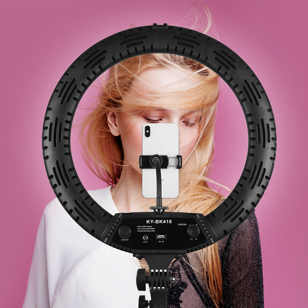 18 inch Camera Studio Ring Light Video LED Beauty Ring Light Photography Dimmable Beauty Light + Hose Phone Clip + PTZ + Storage Bag for Selfie Live Show