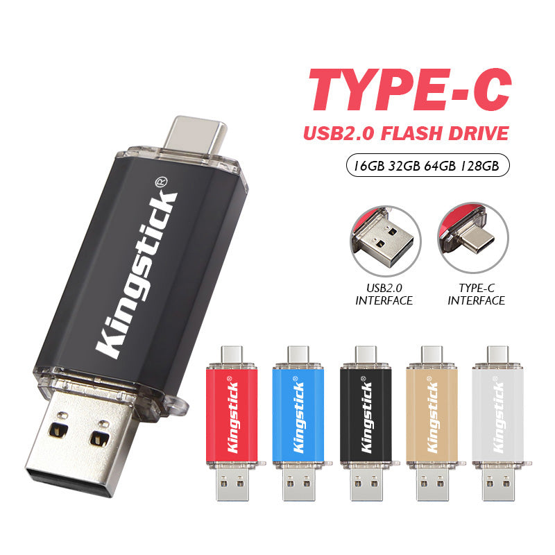 Kingstick 4GB 8GB 32GB 64GB 128GB OTG Type-C USB 2.0 High Speed Flash Memory Stick Pendrive U Disk USB Flash Drive for Computer MacBook Android Mobile Phone
