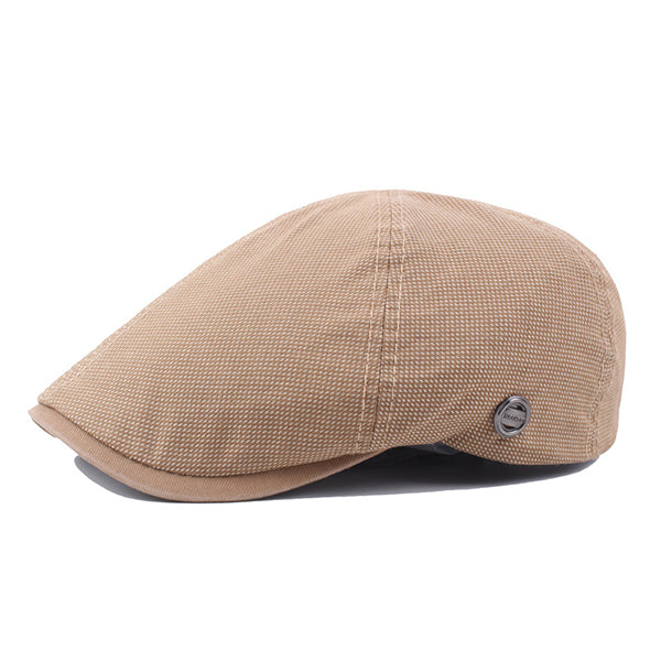 Men Outdoor Breathable Plaid Beret Hat Visor