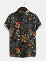 Load image into Gallery viewer, Men Printed Retro Style Summer Casual Short Sleeve Lapel