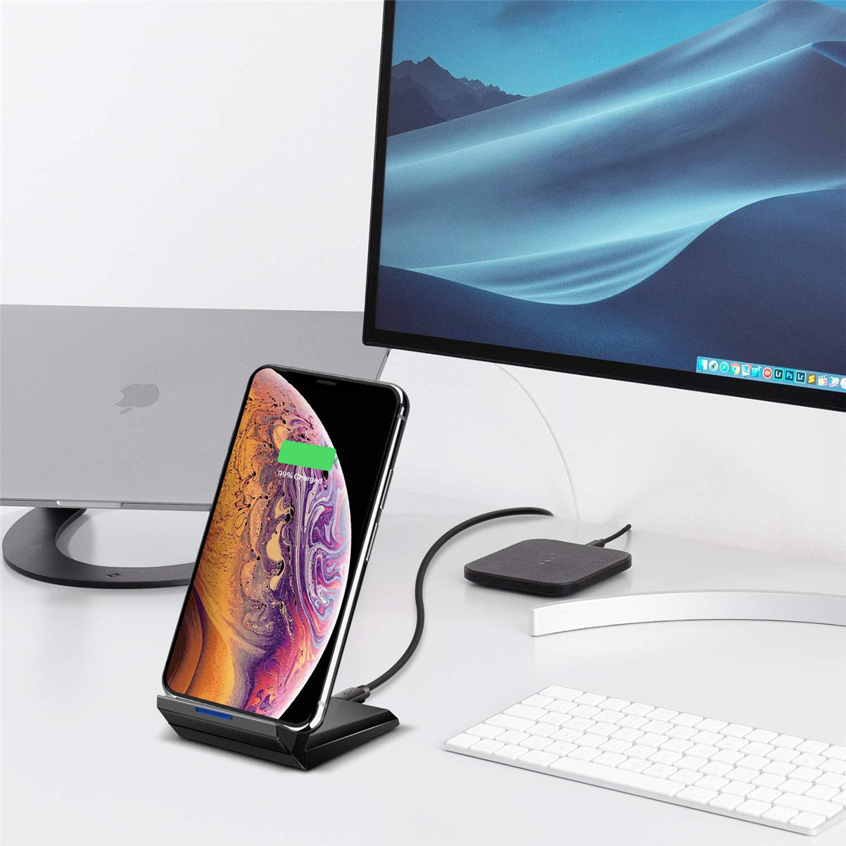 Bakeey 20W Double Coil Fast Qi Wireless Charger Dock Stand For Samsung Xiaomi Huawei