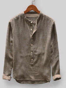 Mens 100% Cotton Vintage Solid Color Button Fly Stand Collar Long Sleeve Casual T-shirts