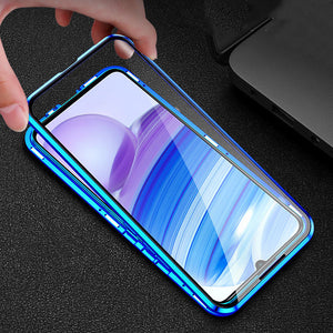 Bakeey for Xiaomi Redmi Note 9S / Redmi Note 9 Pro Case 2 in 1 with Lens Protector Magnetic Flip Double-Side Tempered Glass Metal Full Cover Protective Case