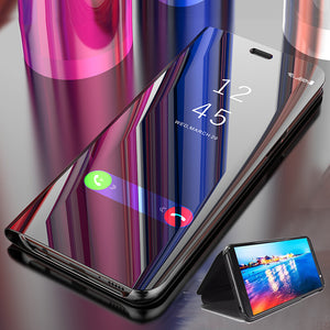 Bakeey for Xiaomi Redmi Note 9 Case Plating Mirror Window Shockproof Flip Full Cover Protective Case