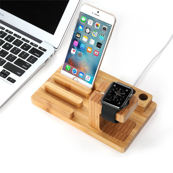 Multifunctional Bamboo USB Charging Dock Phone Tablet Holder Mount for Apple Watch