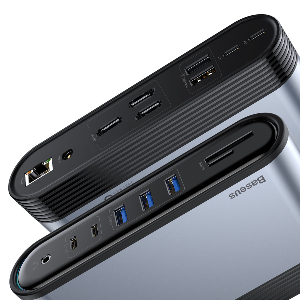 Baseus 17 In 1 USB-C Triple Display Hub Docking Station Adapter with 3 * USB 3.0/2 * USB 2.0/100W Type-C PD/2 * Type-C/3 * 4K HD Display Video Outputs/RJ45 Internet Port/3.5mm Audio Jack/DC 12V Power Supply/Memory Card Readers