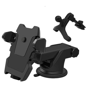2 In 1 Multifunctional Car Air Vent Front Glass Instrument Desk Sucker Phone Holder for Phone 3-6.5 inches (Black)
