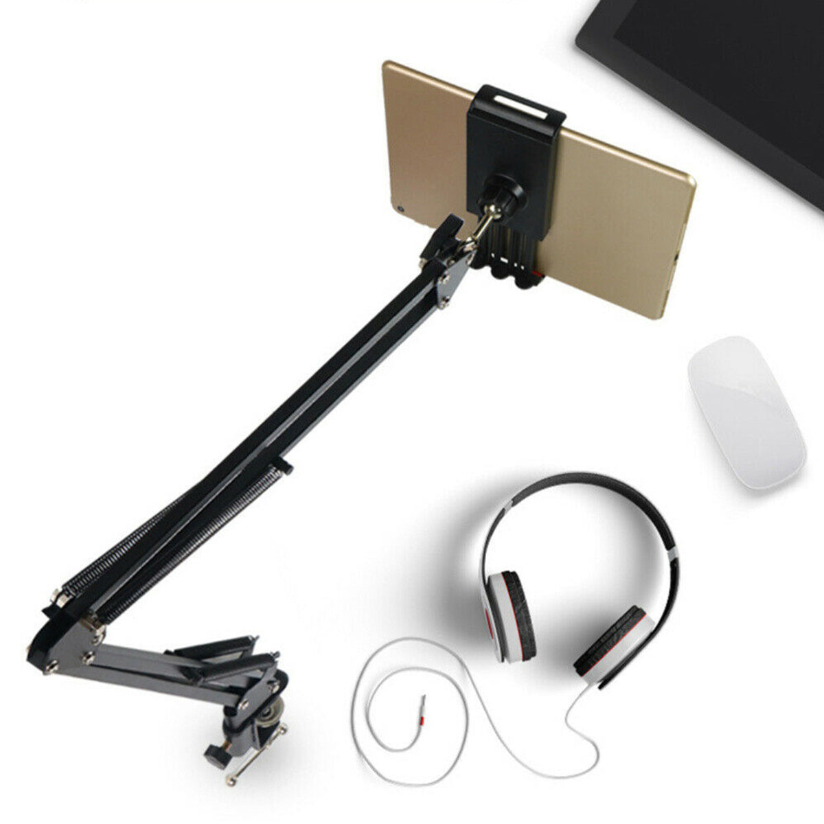 Desktop Adjustable 180° Lazy Tablet Stand Phone Holder Bracket Durable Clip for Smart Phone Tablet With Width Between 12cm and 18cm