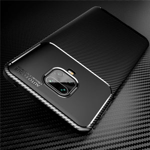 Bakeey Luxury Carbon Fiber Pattern Shockproof Silicone Protective Case for Xiaomi Redmi Note 9S / Redmi Note 9 Pro / Redmi Note 9 Pro Max