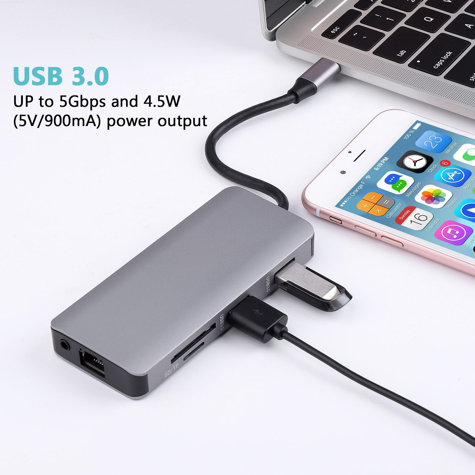 Bakeey 9 In 1 USB-C Hub Adapter With 2 * USB 3.0/100W Type-C PD Charging/4K HD Display/VGA/RJ45 Internet/Memory Card Readers