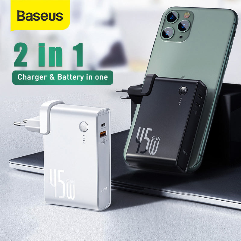 [GaN Tech] Baseus 2 In 1 45W USB-C Wall Charger + 10000mAh Power Bank PD3.0 QC3.0 Power Delivery Quick Charge Power Supply For iPhone 11 SE 2020 For iPad Pro 2020 Xiaomi Note 10 Huawei P40