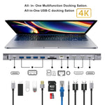 Load image into Gallery viewer, Bakeey 12 In 1 USB-C Hub Docking Station Adapter With 4 * USB 3.0 / 100W USB-C PD3.0 Power Delivery / USB-C Data Transmission / Dual 4K HDMI HD Display / RJ45 Network Port / 3.5mm Audio Jack / Memory Card Readers