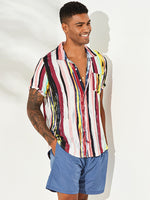 Load image into Gallery viewer, Mens Stripe Printing Graffiti Chest Pocket Short Sleeve Summer Shirts