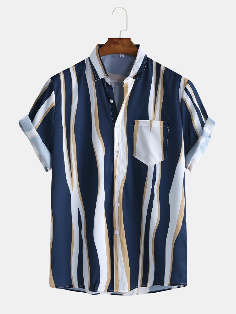 Mens Fashion Plain Color Striola Chest Pocket Short Sleeve Casual Shirts