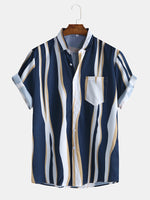 Load image into Gallery viewer, Mens Fashion Plain Color Striola Chest Pocket Short Sleeve Casual Shirts
