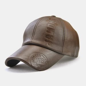 Collrown Men PU Leather Retro Baseball Cap Printed With Logo Outdoor Warm Cap