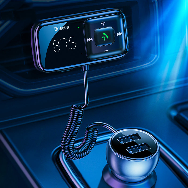 Baseus Car bluetooth 5.0 FM Transmitter 2-Port USB Charger QC3.0 Quick Charge Digital Display bluetooth Audio Adapter Car Kit With Microphone Handsfree Call 3.5mm Aux Input Music Play