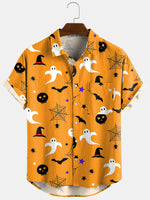 Load image into Gallery viewer, 3 Color Halloween Cartoon Print Turn Down Collar Short Shirts