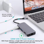 Load image into Gallery viewer, Bakeey 9 In 1 USB-C Hub Adapter With 2 * USB 3.0/100W Type-C PD Charging/4K HD Display/VGA/RJ45 Internet/Memory Card Readers