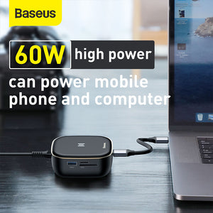 Baseus 2 In 1 USB-C Hub+USB Wall Charger Docking Station Adapter With 2 * USB 3.0 / 60W Type-C PD / 4K HD Display / Rj45 Network Port / Memory Card Readers