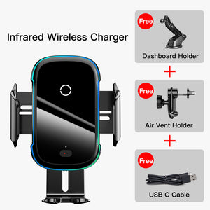 Baseus 15W Wireless Charger Infrared Induction Smart Sensor Air Vent Dashboard Car Phone Holder For 4.7-6.5 Inch Smart Phone For iPhone 11 For Samsung