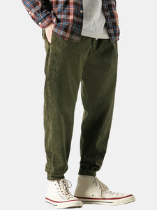 Vintage Corduroy Solid Color Pocket Casual Straight Pants
