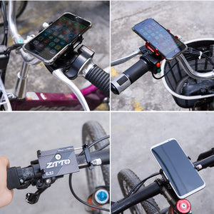 ZTTO Z-81 Universal Outdoor Vlog Recording Aluminum Alloy MTB Motorcycle Road Bike Bicycle Handlebar GPS Mobile Phone Holder Stand for Devices between 55-100mm Width