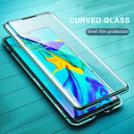 Load image into Gallery viewer, Bakeey 360º Curved Screen Front+Back Double-sided Full Body 9H Tempered Glass Metal Magnetic Adsorption Flip Protective Case For Huawei P30 PRO