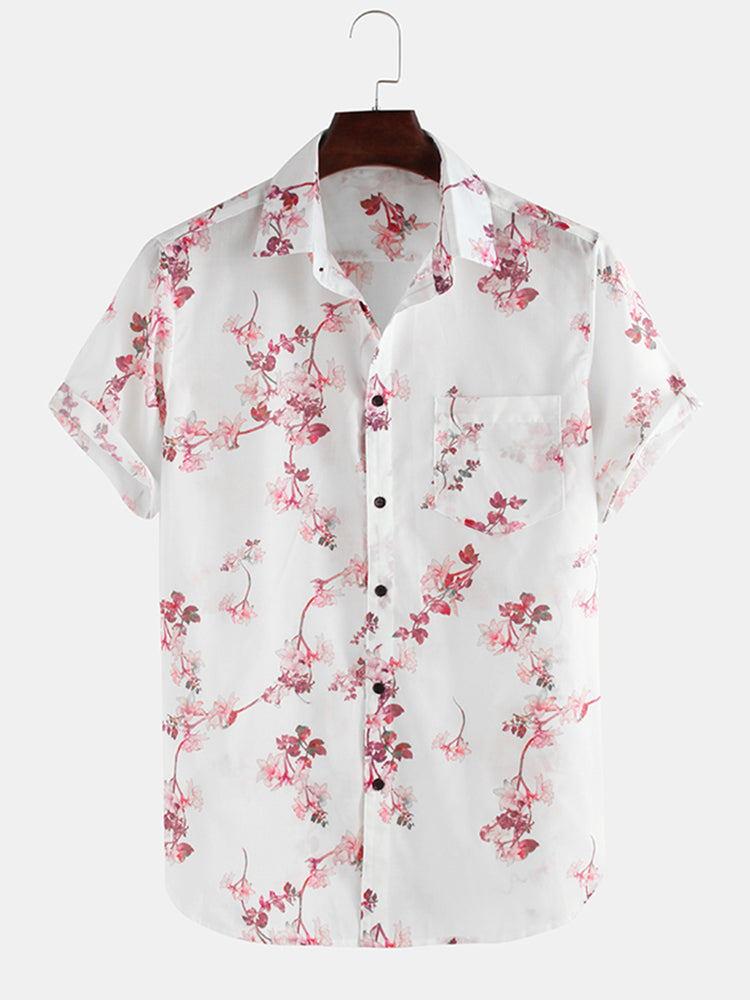 Mens Cherry Blossoms Floral Print Short Sleeve Casual Vacation Shirts
