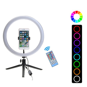 Flash Selfie LED Ring Light Dimmable Desktop Removable Tripod Stand Phone Clip Holder for YouTube Tiktok Live Streaming Makeup