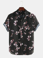 Load image into Gallery viewer, Mens Cherry Blossoms Floral Print Short Sleeve Casual Vacation Shirts