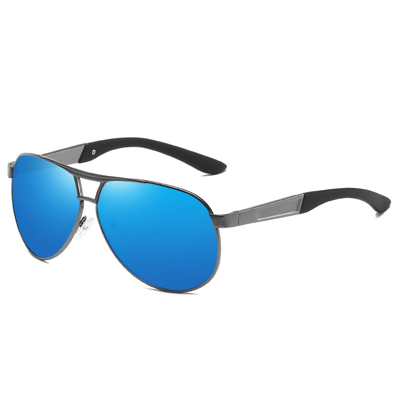 Men's Metal Large Frame Sunglasses Frog Mirror Driver Polarized Sunglasses
