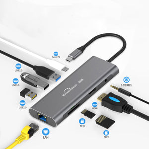 Blueendless 9 In 1 USB-C Hub Docking Station Adapter With 3 * USB 3.0 / 60W Type-C PD / 4K HD Display Video Output / RJ45 Network Port / 3.5mm Audio Jack / Memory Card Readers