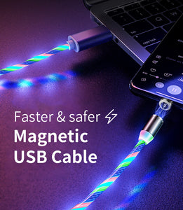 🔥 KEYSION™ Glowing LED Magnetic 3 in 1 USB Charging Cable