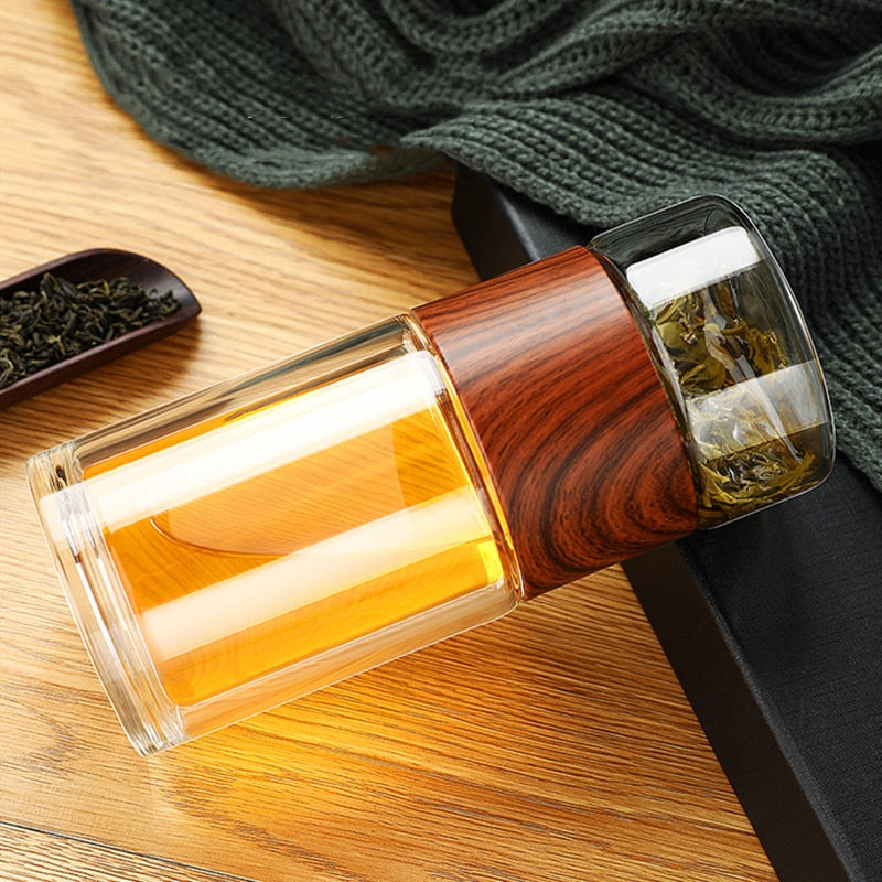 Portable Double Wall Glass Tea Mug
