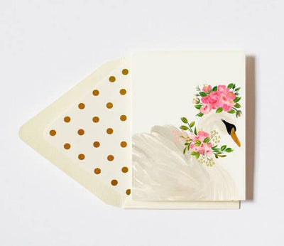 FLORAL CROWNED SWAN CARD