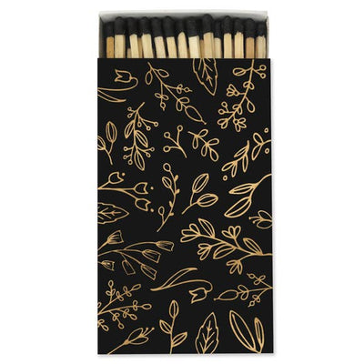 LARGE BLACK & GOLD FLORAL MATCHBOX