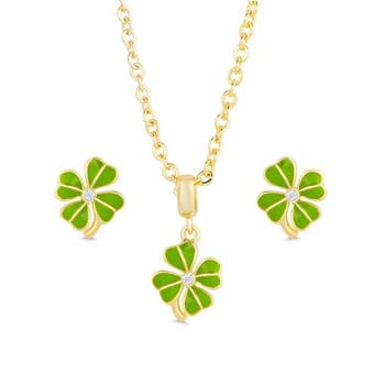 CLOVER EARRINGS & NECKLACE SET