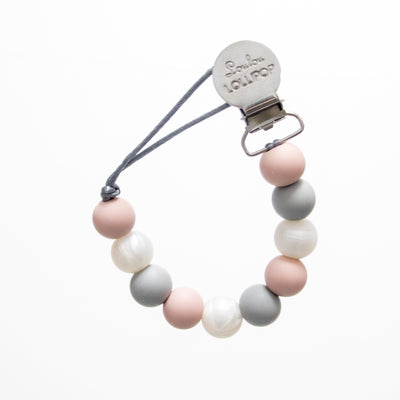 LOLLI SILICONE PACIFIER CLIP - ROSE GRAY