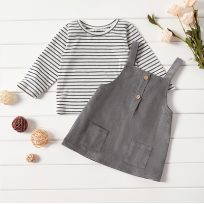 CAMILLE CORDUROY DRESS & STRIPED TEE
