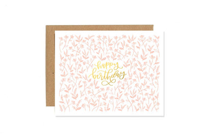 FLORAL LETTERPRESS BIRTHDAY CARD