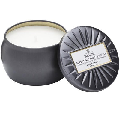 MAKASSAR EBONY & PEACH PETITE TIN CANDLE
