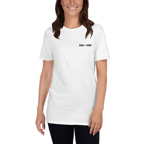 SHE / HER Embroidered T-Shirt - White